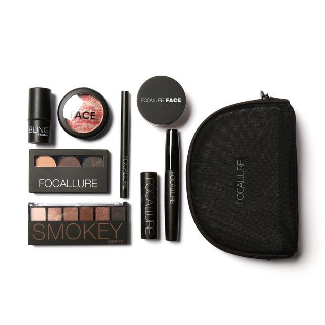 FOCALLURE Brand 8 PCS Makup Tool Kit Cosmetics Including Eyeshadow Lipstick  Powder Mascara With Make up Bag Makeup cosmetic Set