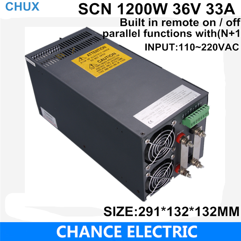 Built in remote on / off switching power supply 36V 33A 1200W 110~220VAC  single output  for cnc cctv led light(SCN-1200W-36V) 27v 22a switching power supply scn 600w 110 220vac scn single output for cnc cctv led light scn 600w 27v