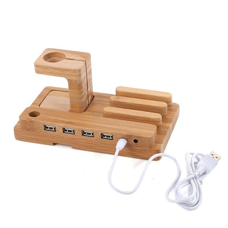 Цена за Многофункциональный Бамбука Телефон Настольная Подставка Держатель для iPhone iPad мини для Apple Наблюдать Зарядки Док 4 USB Порта с Зарядки кабель