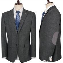 2018 nueva lana ckeck Tweed Trajes hombres flacos formales smoking de la boda  suave moderno blazer 3 unidades hombres Trajes cha. 6c14ac51d14