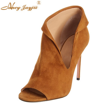 Women Adult Boots Turned-over Edge Solid Ankle Slip-On Peep Toe Super High Thin heels Sexy Mature Concise Fashion Elegant 2019