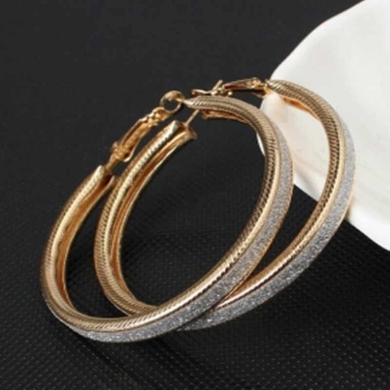 The new Korean version  the trend of European and American big rock and roll exaggerated scrub ring earrings jewelry Women Gift