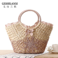2017 new fashion spring summer portable straw bag woven female beach bag messenger sweet Holiday Natural linen bag
