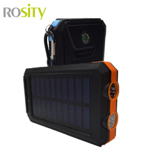 New 20000Mah Waterproof Solar Charger 2 LED Light 2 Ports Power Bank Portable powerbank Charger For IPhone Samsung With Compass