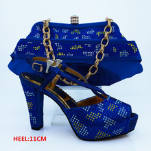 Royal Blue Color Italian Shoes with Matching Bags Women Shoes and Bag To Match for Parties Italian Shoes with Matching CP63009