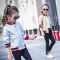 2016 New Girls PU Coat Golden Silver Baseball Jackets Girl's Outwear Coat Autumn Winter Toddler