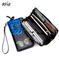 e12b9d33c Painted Long Wallet Women Rfid Anti Theft Leather Money Bag Clutch With Coin  Purse Girls Butterfly