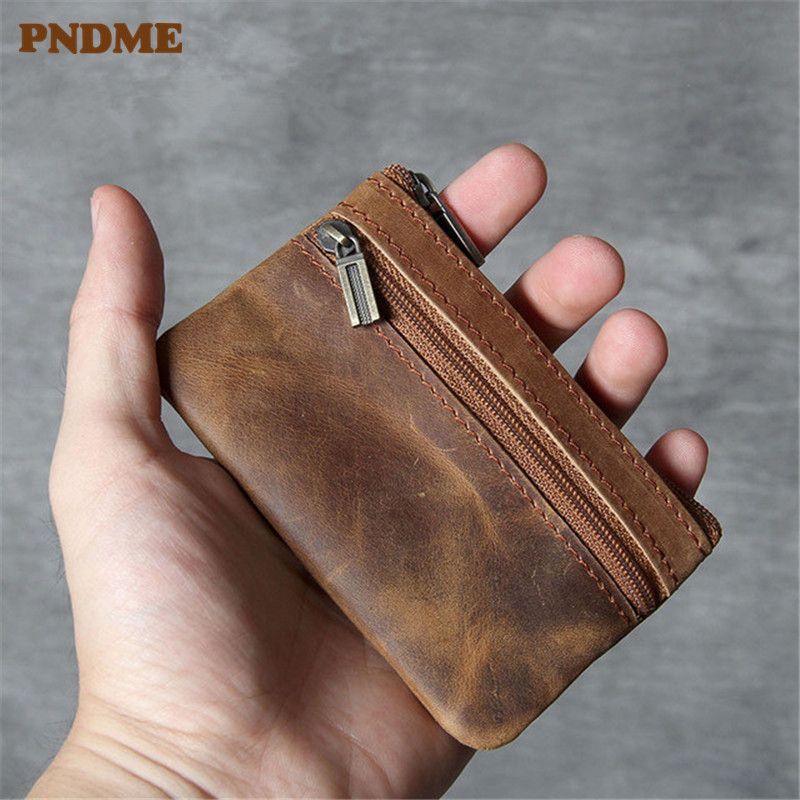 PNDME ultra-thin genuine leather coin purse mini men card bag simple retro cowhide zipper small key wallets ID Holders for women