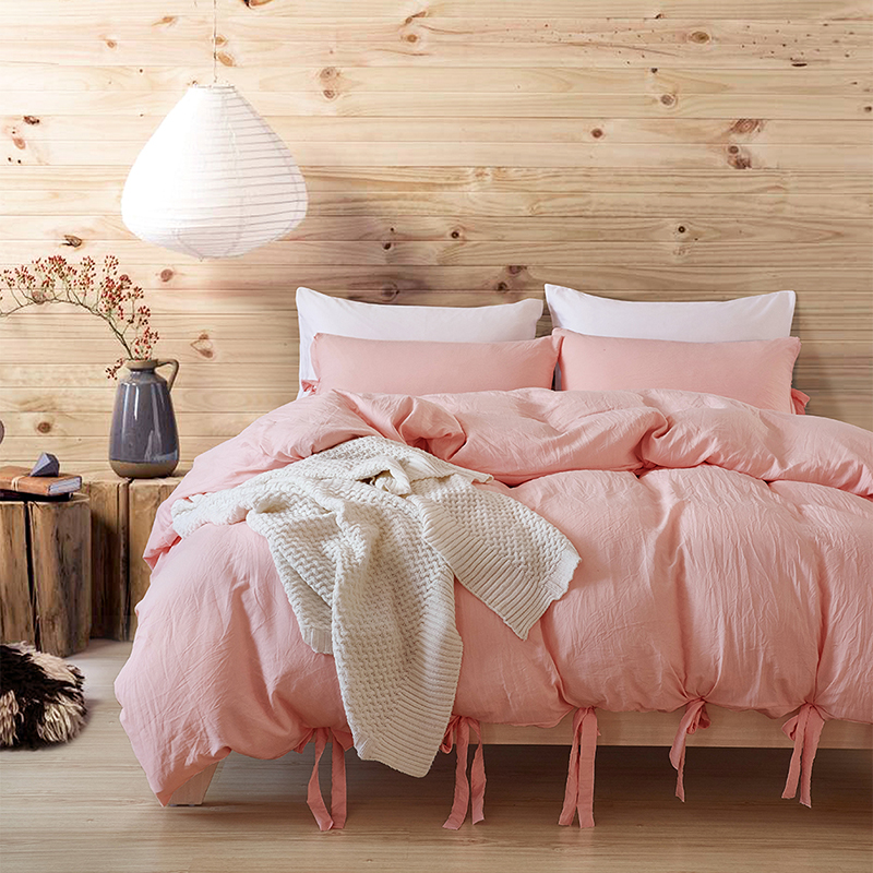 European style pink set large soft bedding quilt cover Solid color three-piece washable cotton tie home textile bedding SimpleEuropean style pink set large soft bedding quilt cover Solid color three-piece washable cotton tie home textile bedding Simple