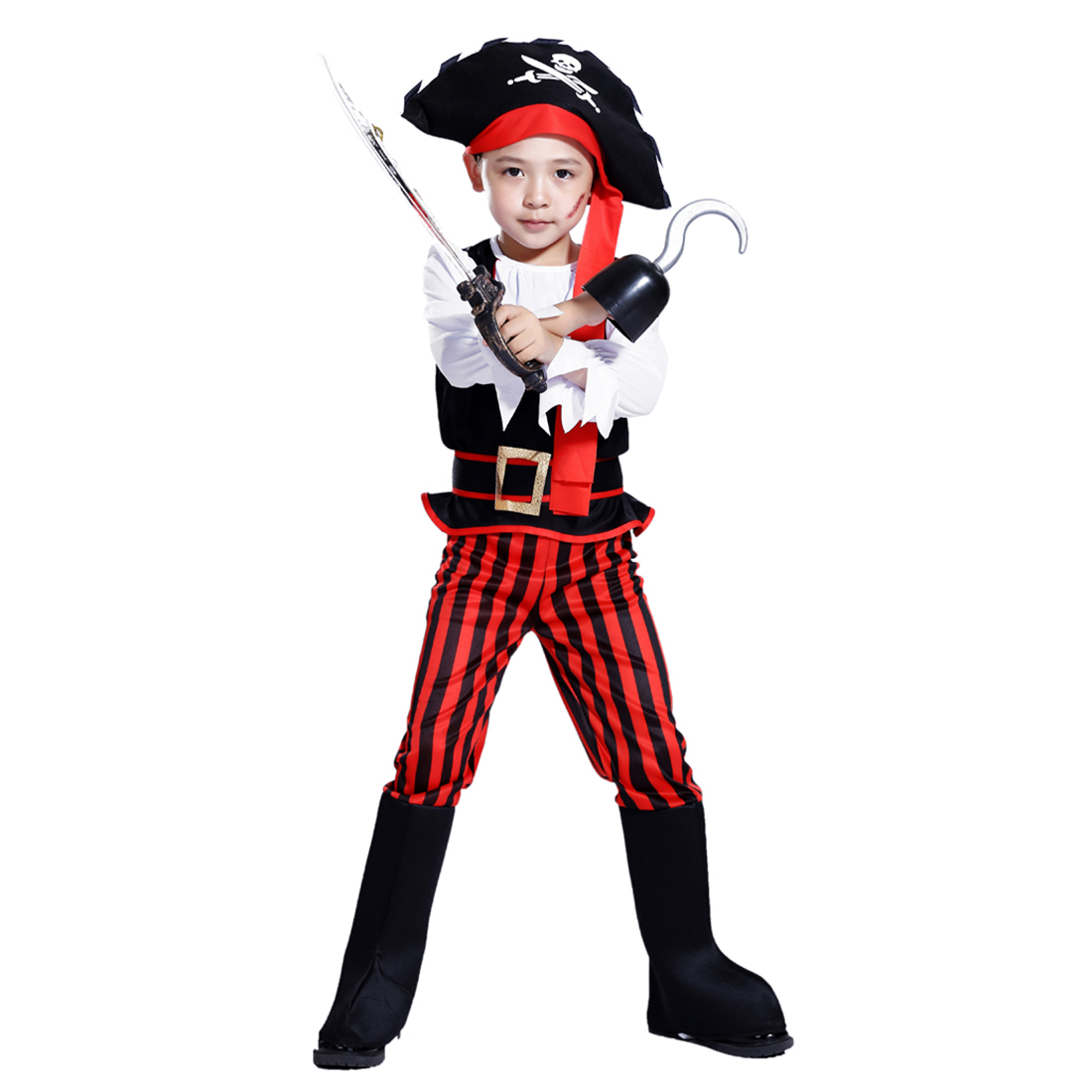 Halloween Pirate Cosplay Suit Children Pirate Boy Costume With Pirate Knife Pirate Hook For 4-6 Years Old - M Size