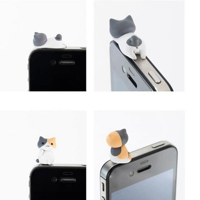 2pcs Cute Cat Dust Plug Phone Anti Dust 3.5mm Universal Phone Dust Plug for HTC Samusng iPhone Headphone jack Dustproof Plug