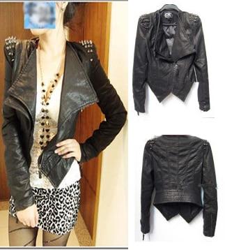 157ca8b62cb2 High good quality women Punk Studs Spike Shoulder Pads Lapel Draped PU Faux Leather  Biker Jacket Blazer