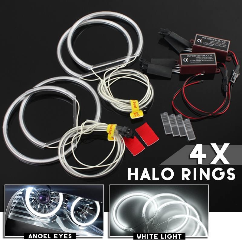 4pcs 130mm CCFL Angel Eyes Halo Rings Lights Xenon LED White Headlight Bulbs Angel Eye for BMW E36 E39 E46