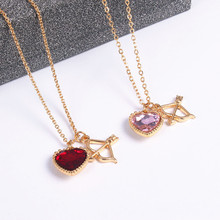 Wholesale jewelry manufacturer pink arrow of love girl bone chain necklace Retro fashion beautiful lady pendant necklace gift