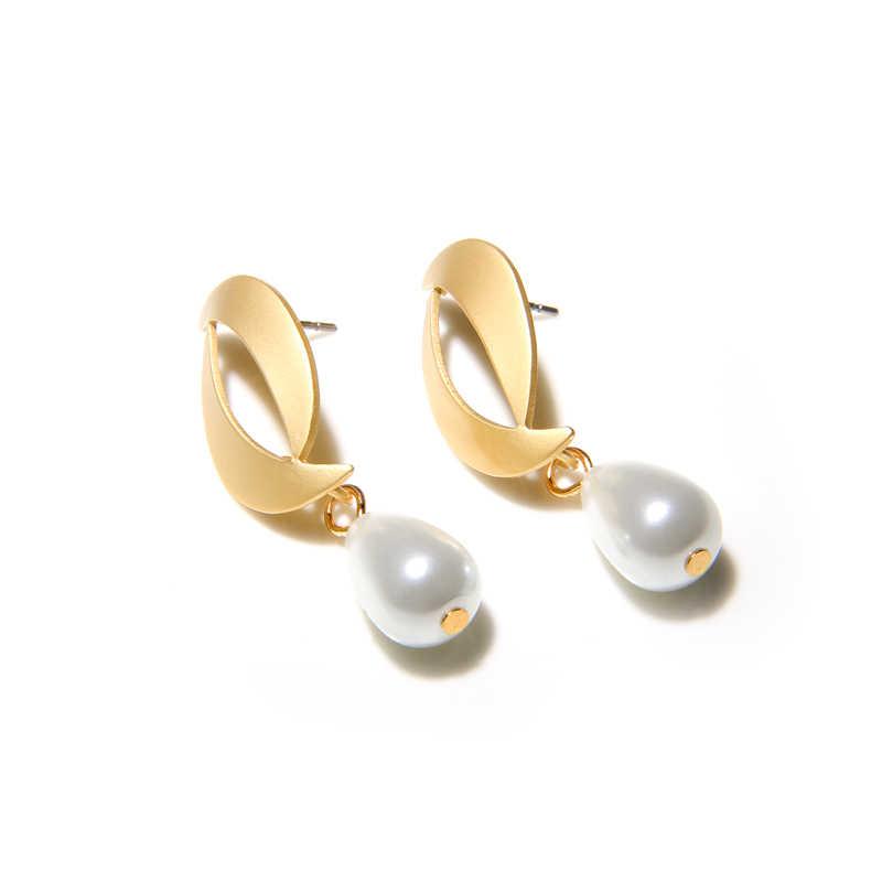 Simulated Pearl Earrings Simple Holiday Women Round Beach Drop Earrings Bohemian Pearl Jewelry Elegant Fashion Summer