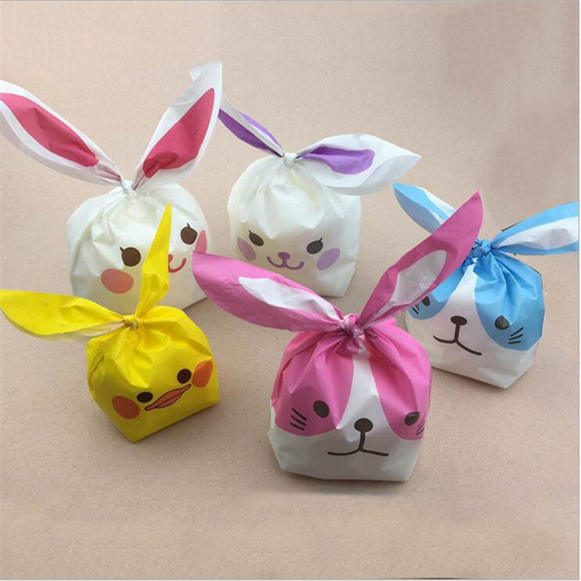 Cute Lovely New Year Baptism Duck Pink Blue Event Party Supplies Rabbit Christmas Bread Package Bakery Gift Favors Plastic Bag