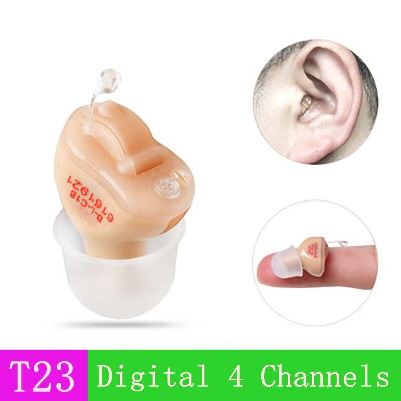 JT23 Dropshipping chiny 4 kanały cyfrowy niewidoczne aparaty słuchowe wzmacniacz dźwięku dla osób starszych z bateria do aparatu słuchowego A10 w Pielęgnacja uszu od Uroda i zdrowie na  Grupa 1