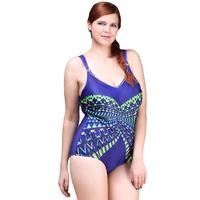 Sexy One Piece Swimsuit 2016 Vintage Plus Size Swimwear Women Graceful Loops Print Beach Bodysuit Elegant