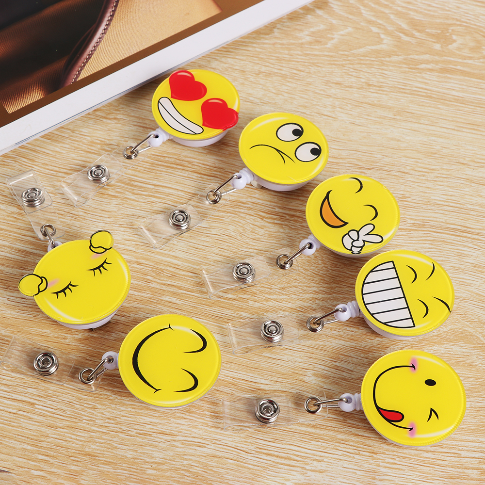 1Pc Cute Cartoon Smiling Face Retractable Badge Reel Student Nurse Exhibition ID Name Card Badge Holder Office Supplies