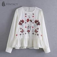 Vintacy 2018 Fashionable Lantern Long Sleeve Embroidery Casual Loose Embroidery Back Bow Embroidery Round Neck Set