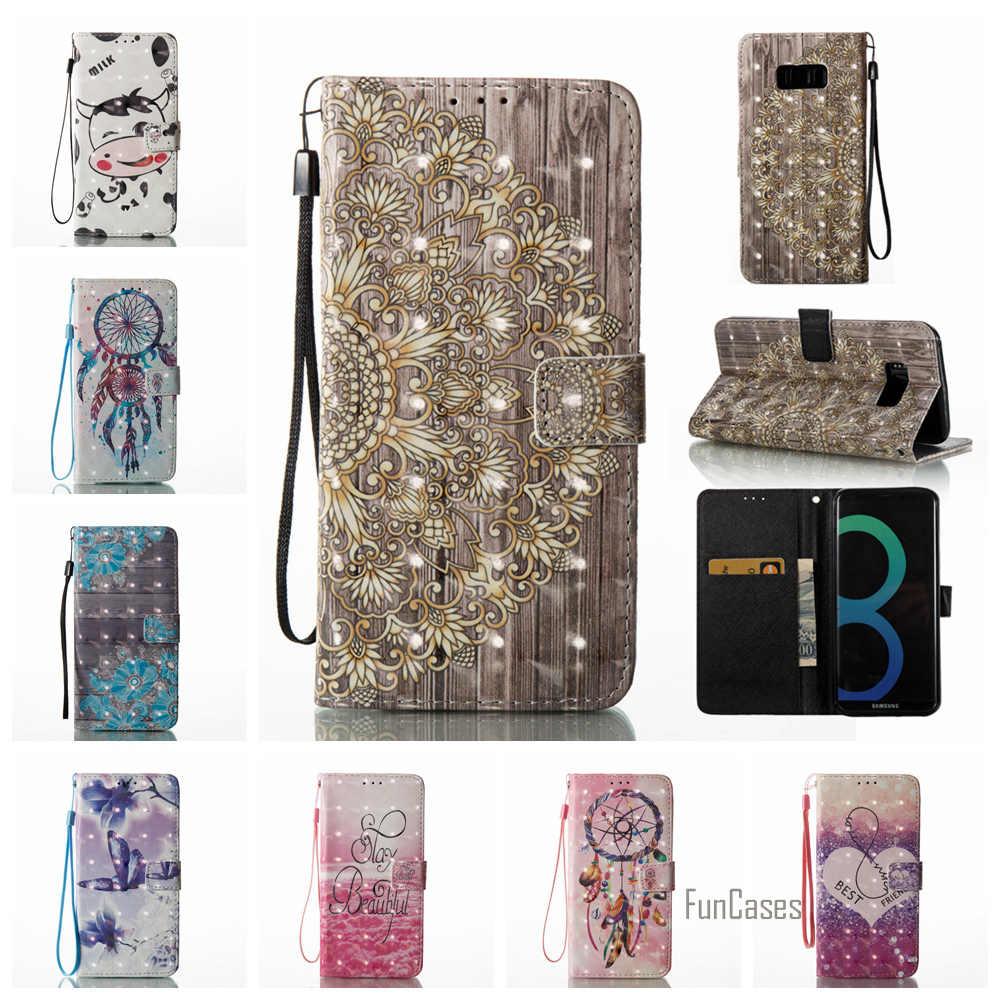 Luxury 3D Painted PU kulit Balik Kasus Untuk Samsung S8 Plus S6 Tepi S7 S5 Sapi Kasus Untuk Samsung Galaxy A5 A3 J3 J5 2017 J7 2016