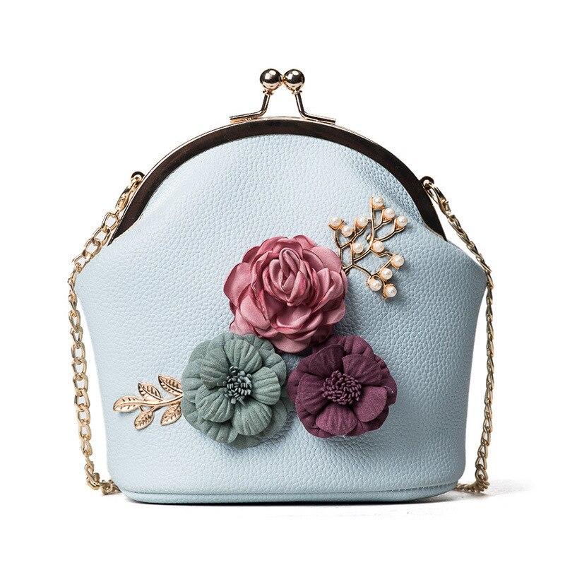 1 Pcs Women Lady Shoulder Crossbody Bag Chain Flower Vintage For Money Keys Cards LBY2018
