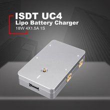 ISDT UC4 18W 4X1.5A 1S MINI Smart Battery Charger With USB Type-C Input PH2.0 Output MCPX for RC Drone