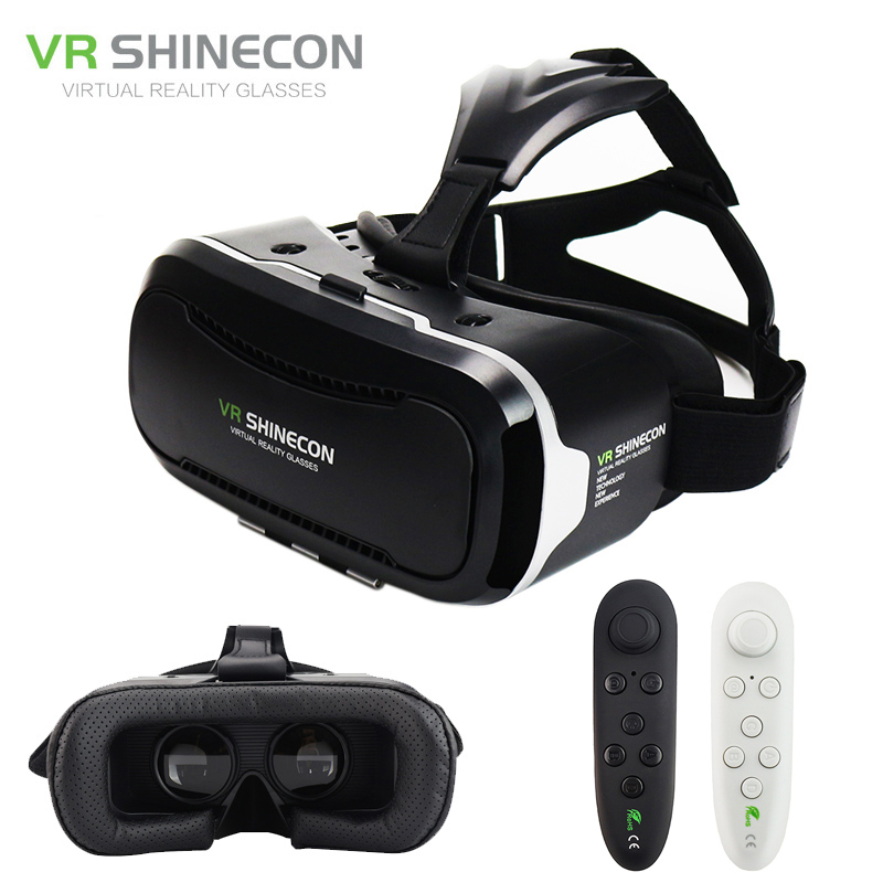 Shinecon VR 2.0 Google Cardboard Mobile 3D Virtual Reality Glasses Headset Immersive Helmet box Head Mount For 4.7-6 Phone