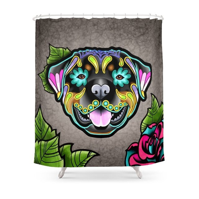 Rottweiler Day Of The Dead Sugar Skull Dog Shower Curtain