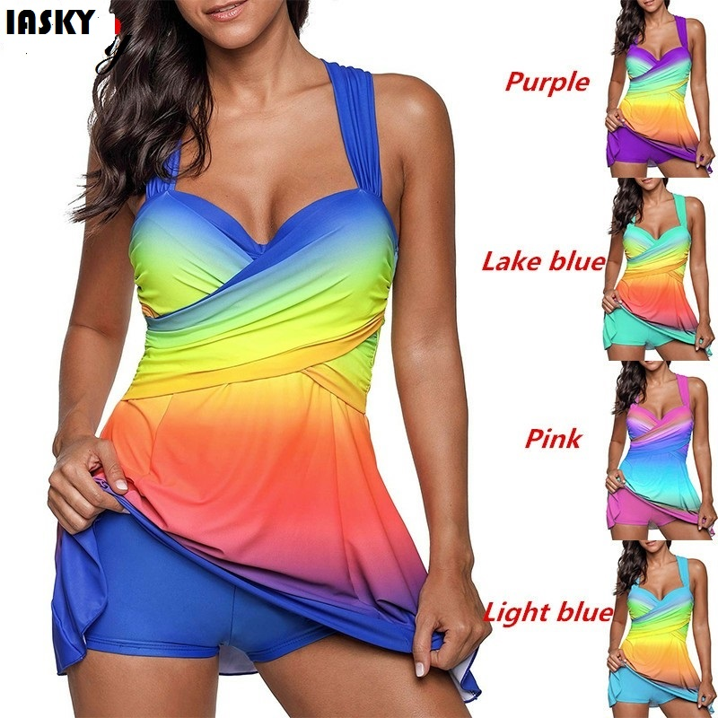 IASKY 2018 New Gradient colorful Plus Size Swimsuit sexy women Tankini set Swimwear Dress Bathing Suits Two Piece suit S--5XL 2018 women plus size s 5xl swimsuit print sexy split boxer swimsuit two piece bathing suit summer beach swimwear