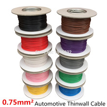 5meters/lot 0.75 MM2 Auto Cable 12/24V 24/0.2mm Stranded Copper Wire Cores Thinwall Car