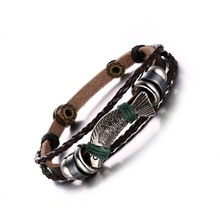 Meaeguet men leather bracelets&bangles fish pattern 22cm length charm leather rope bracelets for men jewelry