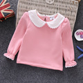 2017 winter girls peter pan collar  shirt  kids long sleeve t-shirts baby T-shirt Lapel tops 0-6 year