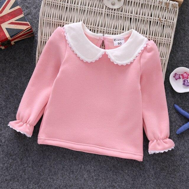b3c70289d 2019 winter girls peter pan collar shirt kids long sleeve t-shirts baby T-