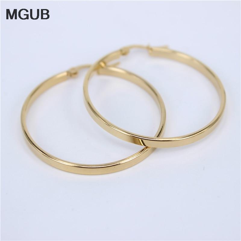 MGUB Diameter 30MM-60MM Stainless Steel Jewelry Big crystal Hoop Earrings Gold Color Circle Round Earrings For Women  LH505