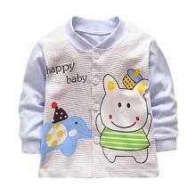 Осенняя одежда для малышей, повседневные хлопковые пальто в полоску с рисунком, верхняя одежда, куртка для мальчиков и девочек