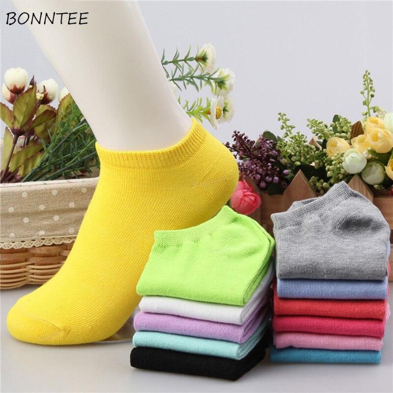 Socks Women Simple Solid Trendy Funny Kawaii Elegant Korean Style High Elasticity Womens Candy Colour All-match Leisure Sock New