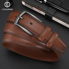 New Fashion Men #8217 s Genuine Leather Belts Designer Belt for Man Pin Buckle with Leather Strap Business Dress Male Belts HQ091 cheap CCOOLERFIRE Metal Cowskin Split Leather Adult 3 2cm Solid 5 5cm 4 5cm Business Dress Men Belts Designer Men Leather Belts
