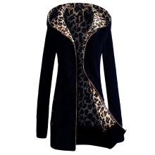 2018 Hot New Hooded Padded Leopard Sweater Women Europe America Plus Velvet Large Size Jacket Coat Winter Women's Clothing Mujer(China)