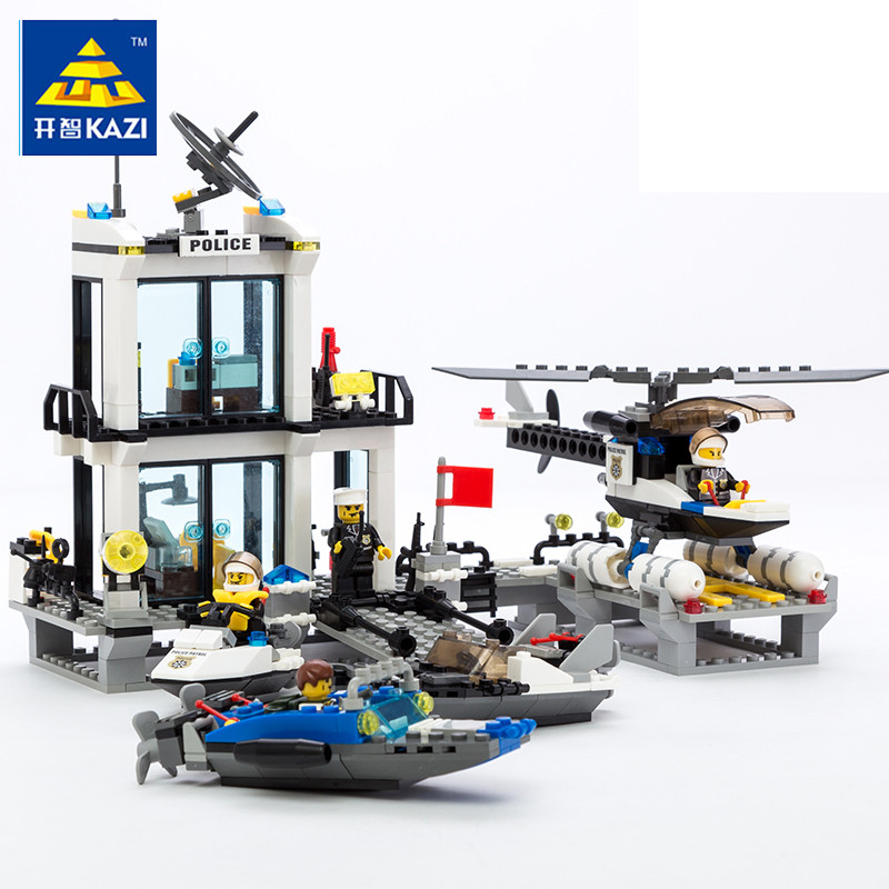 KAZI 6726 Police Station Building Blocks Helicopter Boat Model Bricks Toys DIY Toys For Children brinquedos Birthday Gift lepin 631pcs city police station kazi 6725 building blocks action figure baby toys children building bricks brinquedos kid gift