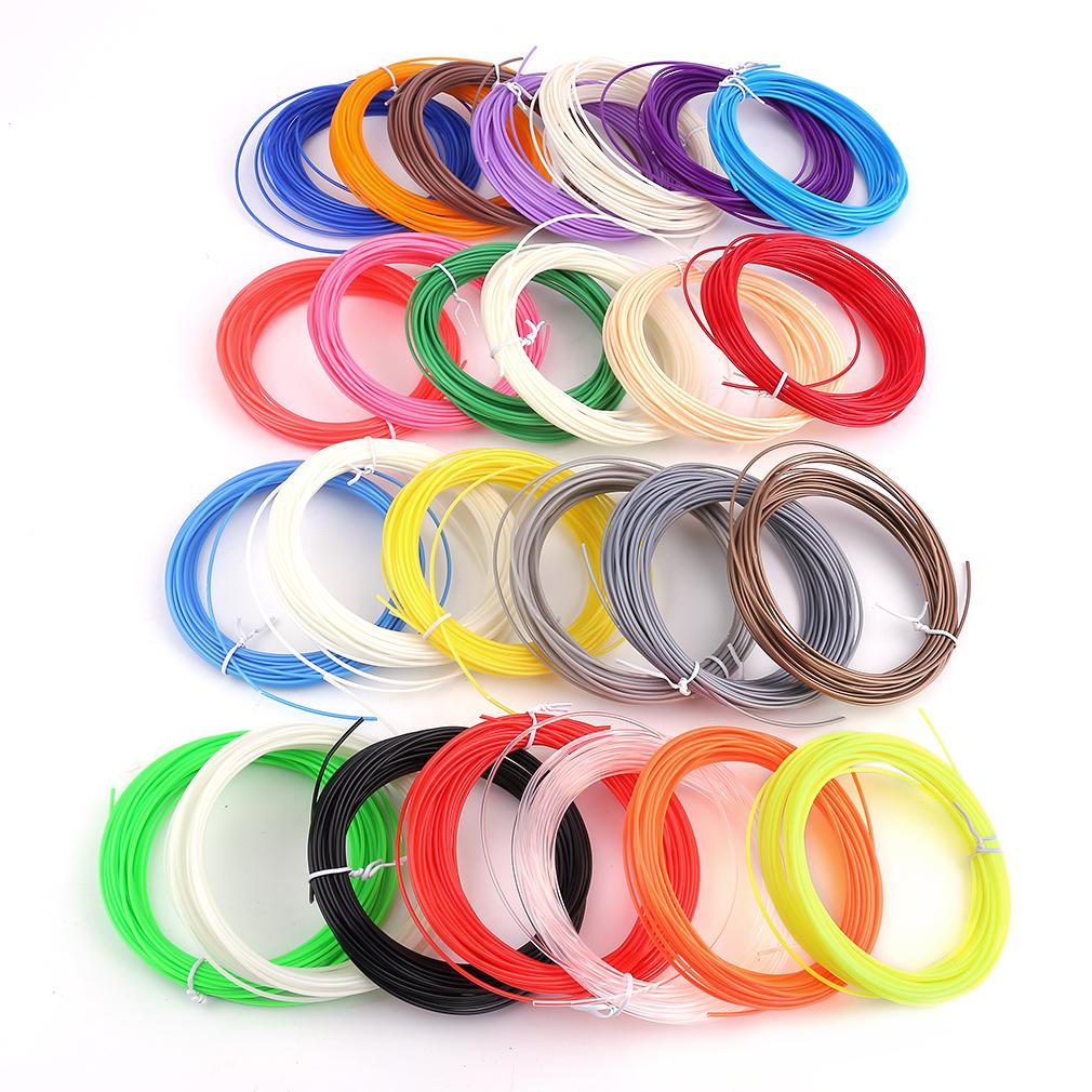 Prix pour Haute Résistance 26 Pcs/Kit 3D Impression Stylo ABS Fournitures Couleur Respectueux de l'environnement En Plastique Ligne Filament 10 M