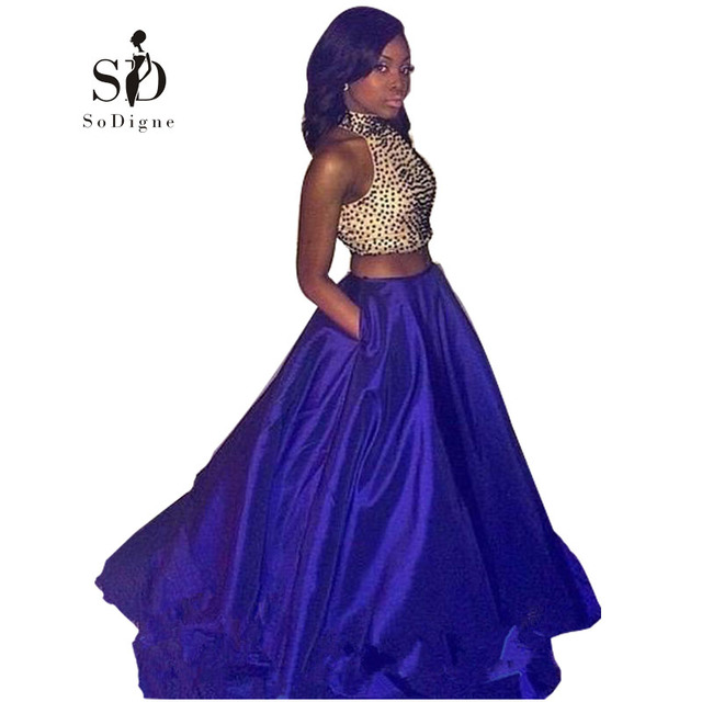Sodigne 2 Piece Prom Dresses With Pockets 2017 High Neck Royal Blue