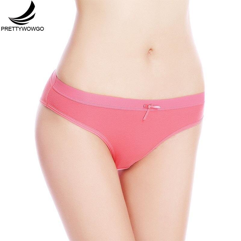 Prettywowgo New Arrival 2019 Solid Color Cotton Women Briefs   Panties   6953