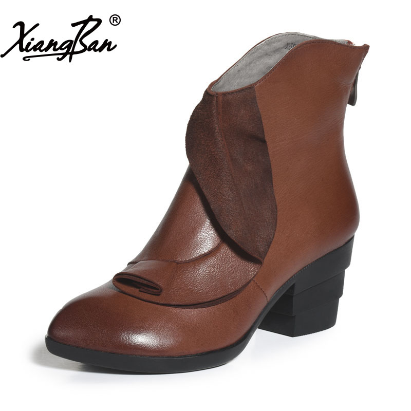 Xiangban Handmade Genuine Leather Women Boots High Heel Ankle Boots Pointed Toe Vintage Shoes Red Coffee 6208K11 xiangban handmade genuine leather women boots high heel ankle boots pointed toe vintage shoes red coffee 6208k11