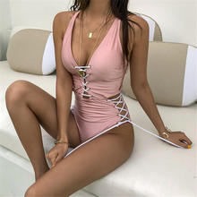 One-Piece Swimsuit Monokini Lace-Up Women Bandage Backless Push-Up High-Cut Solid Strips