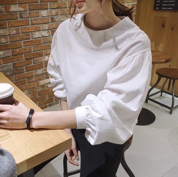 2016 autumn new Korean women loose round neck lantern sleeve solid color font b shirt b