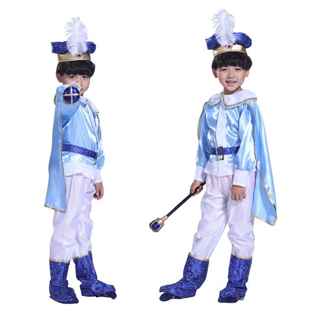 Mascarada fantasia de Halloween Natal Crianças menino rei príncipe azul trajes realizando