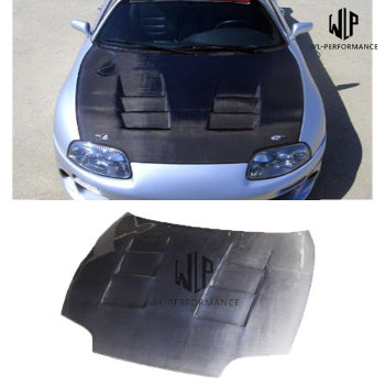 High quality Carbon Fiber Front Engine Hood Bonnets Engine Covers For Toyota Supra Car Body Kit 92-98
