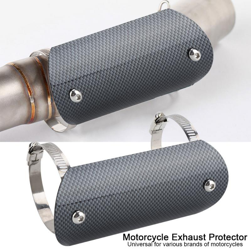 Carbon Fiber Motorcycle Exhaust Link Pipe Heat Shield Cover Heel Guard Protector