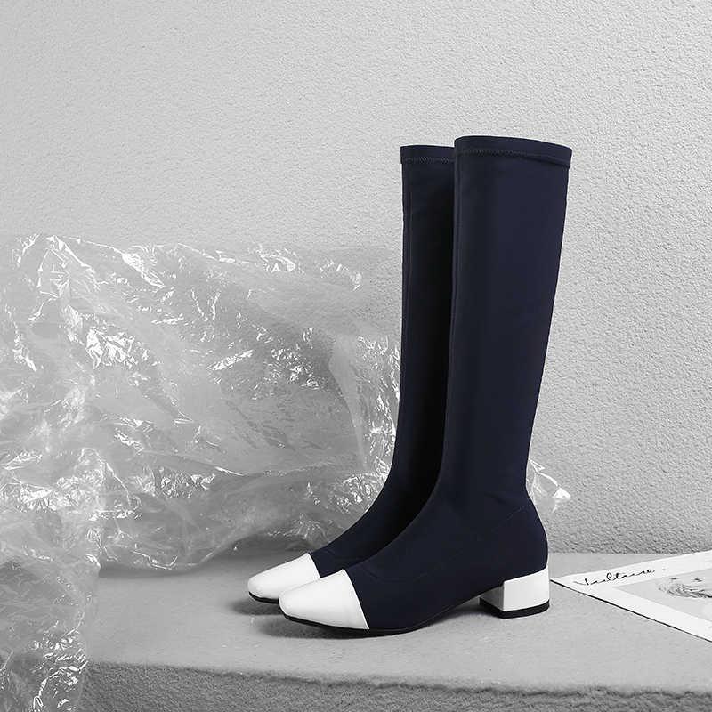 EshtonShero Sonbahar Ayakkabı Kadın Diz Yüksek Çizmeler Streç Kumaş Düşük Topuklu Sivri Burun Çorap Siyah Bayanlar binici çizmeleri Boyutu 3- 9